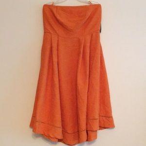 Eva Mendes Orange Strapless Handkerchief Dress